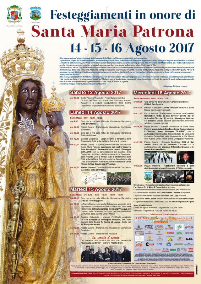 Calendario Feste Patronali Puglia.Feste Patronali Lucera Pubblicato Il Programma Completo Dei